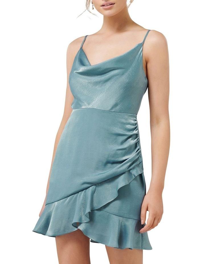 Fifi Petite Cowl Neck Wrap Frill Mini Dress image 1
