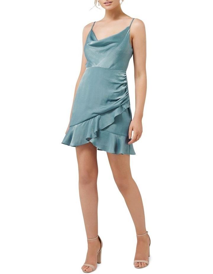 Fifi Petite Cowl Neck Wrap Frill Mini Dress image 4