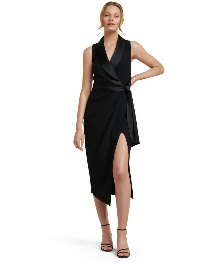 Rowena Tuxedo Satin Midi Dress image 1