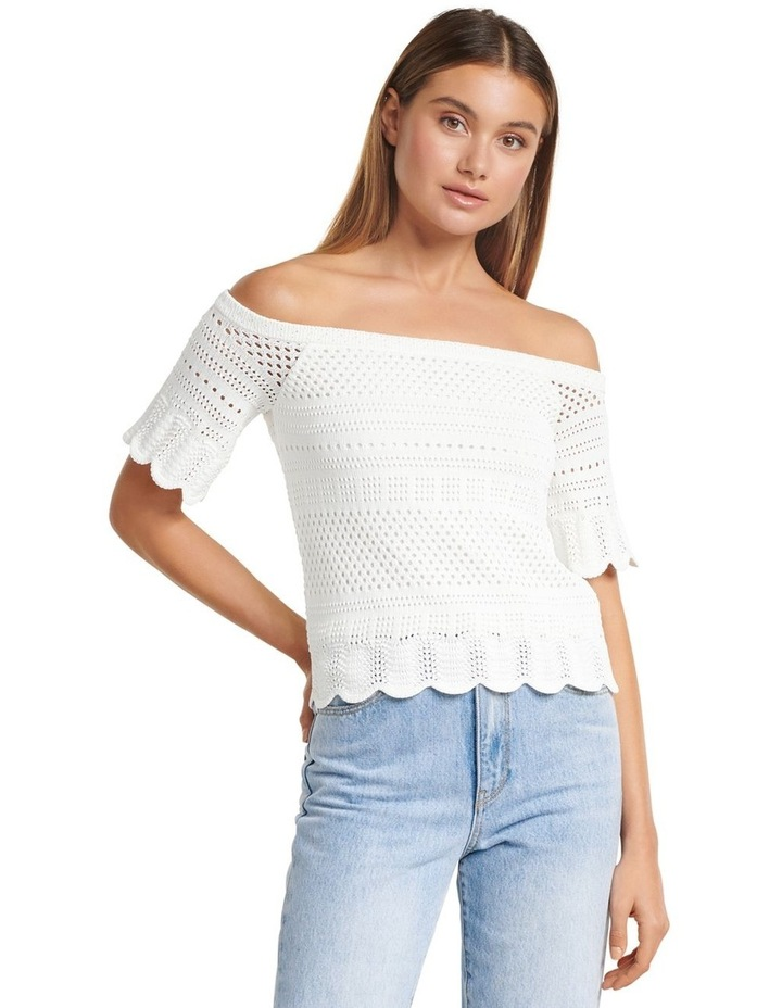 Alba Crochet Look Bardot Knit Top image 1