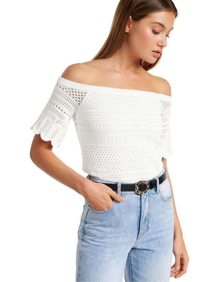 Alba Crochet Look Bardot Knit Top image 2