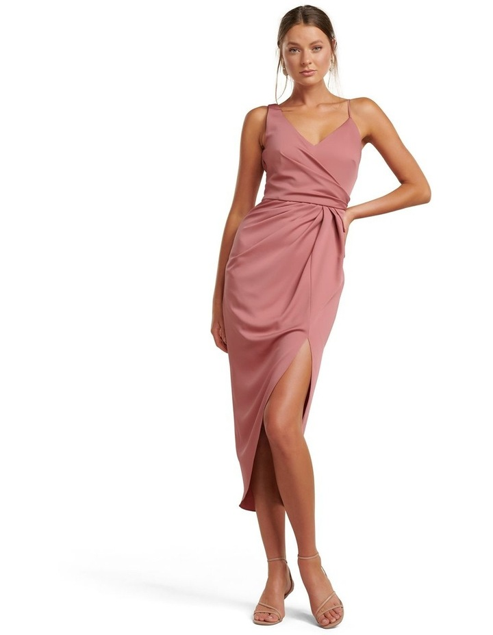 Hallie Drape Satin Midi Dress image 1