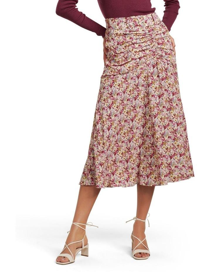 Zalie Ruched Belted Midi Skirt image 1