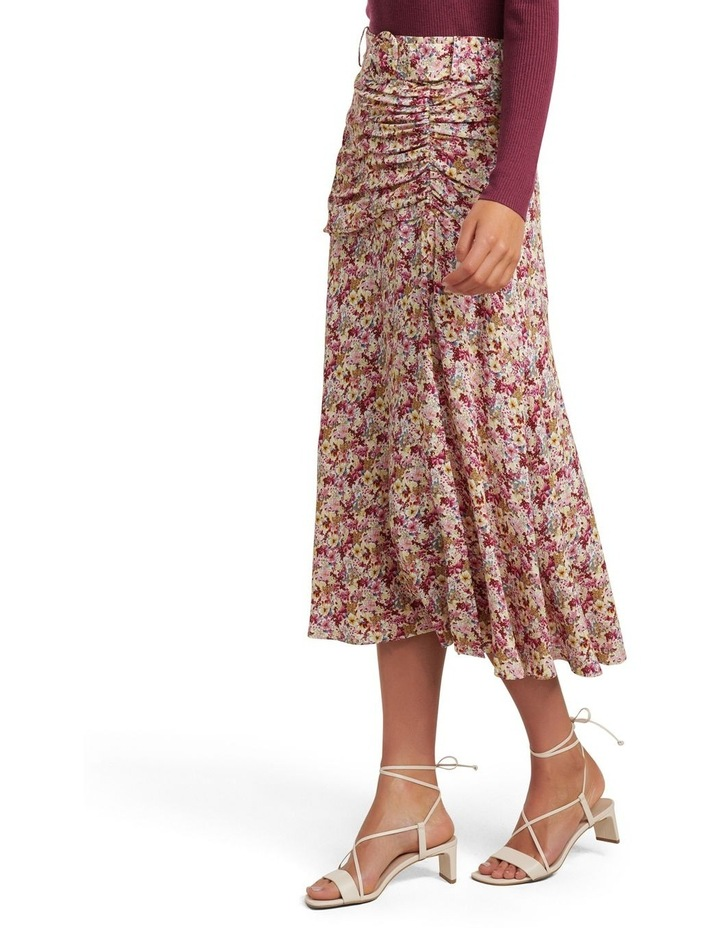 Zalie Ruched Belted Midi Skirt image 2
