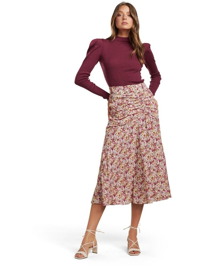 Zalie Ruched Belted Midi Skirt image 4