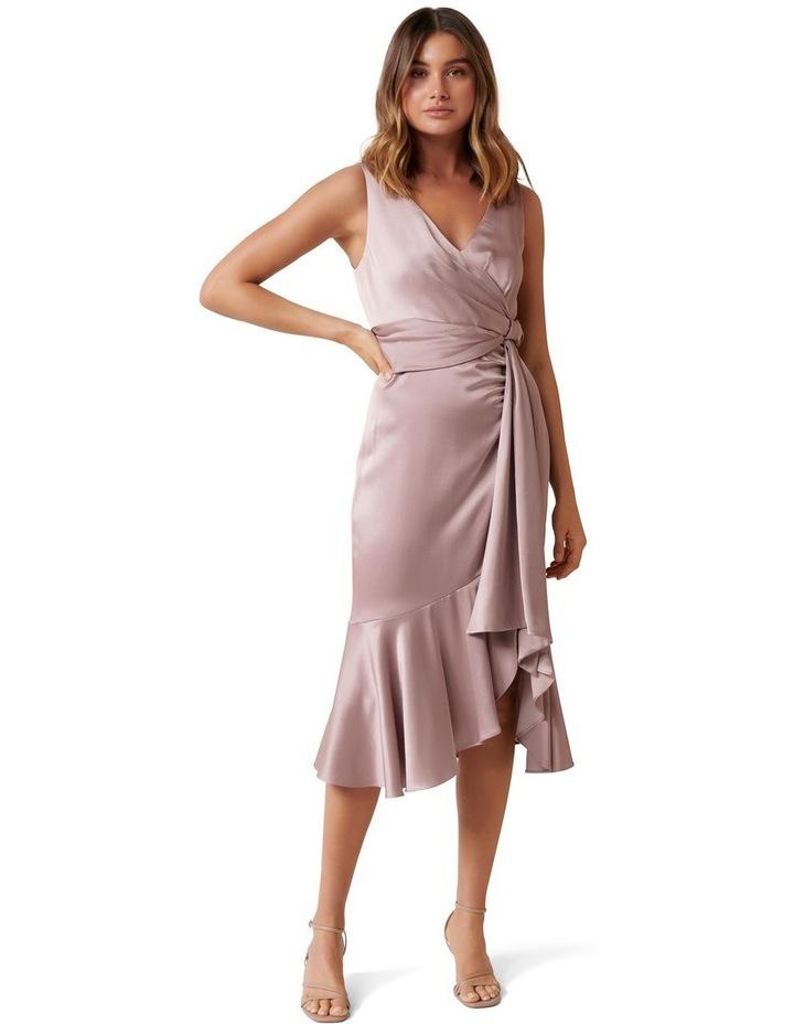 Gracelyn Satin Wrap Petite Midi Dress image 1