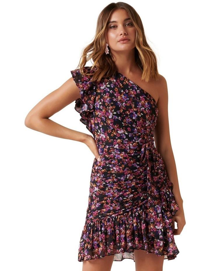 Anna One Shoulder Ruched Mini Dress image 1