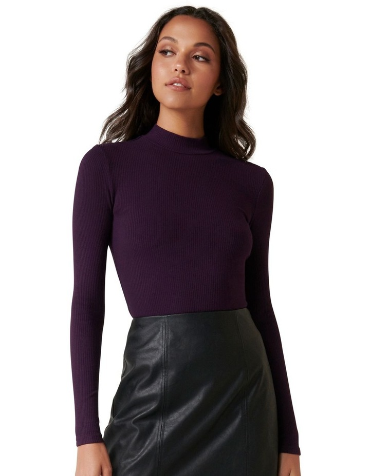 Brandi High Neck Rib Long Sleeve Top image 1