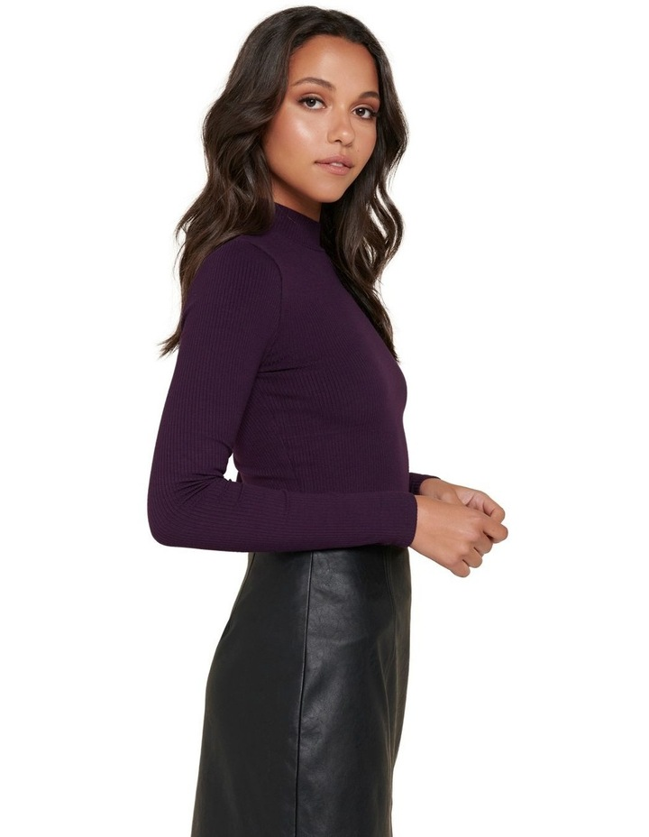 Brandi High Neck Rib Long Sleeve Top image 2