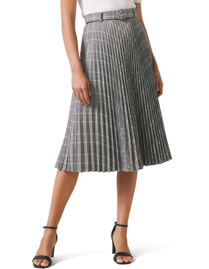 Carla Self Belt Check Pleat Skirt image 1