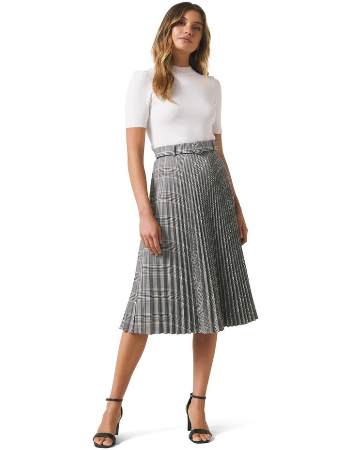 Carla Self Belt Check Pleat Skirt image 4