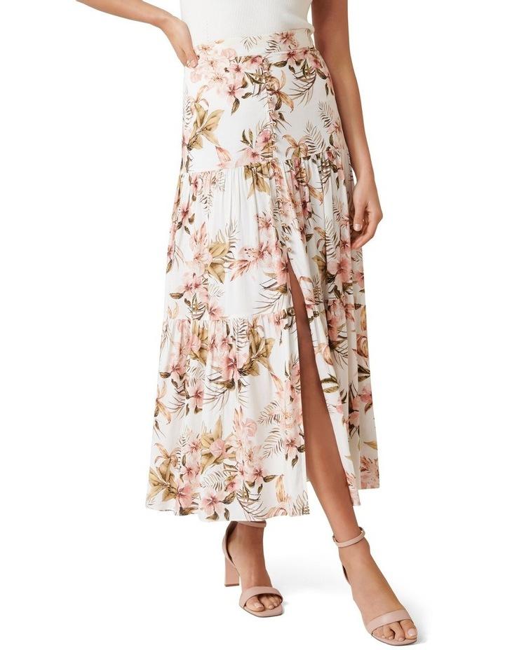 Raina Linen Blend Tiered Maxi Skirt image 1
