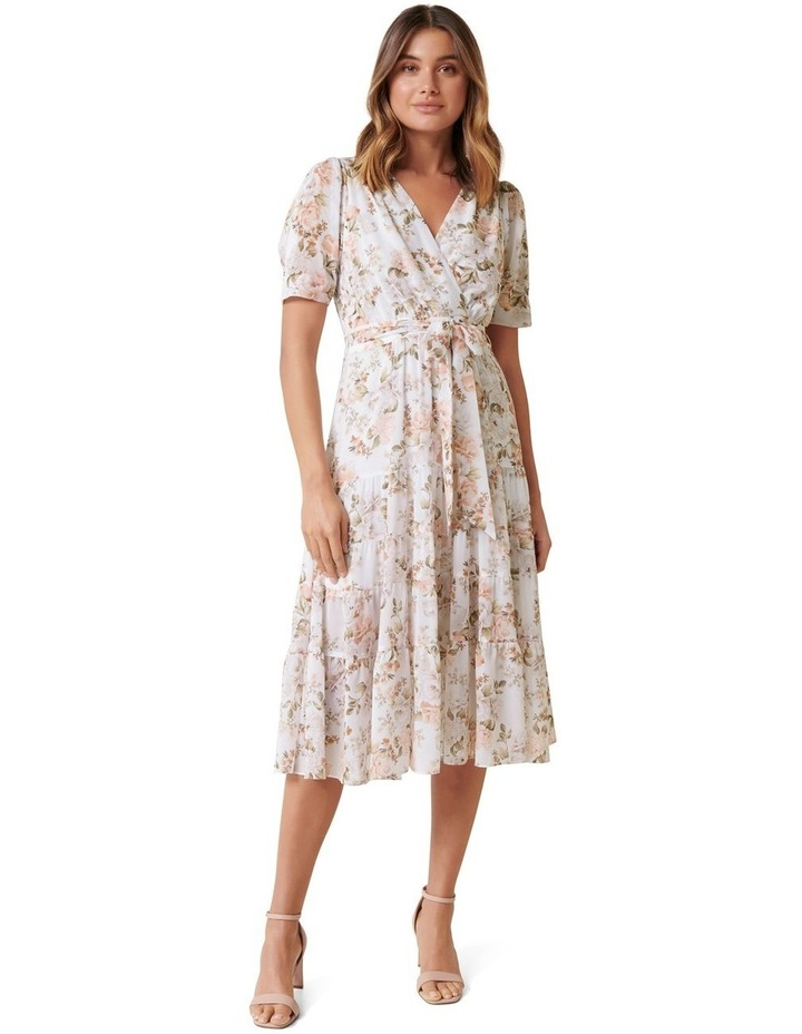 Jordan Petite Puff Sleeve Tiered Midi Dress image 1