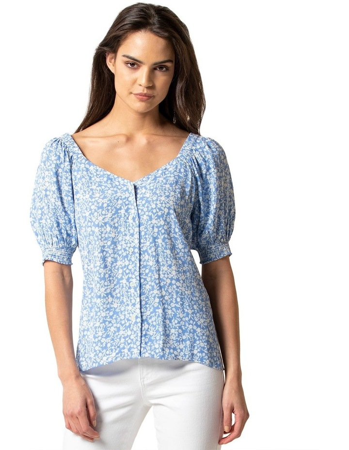 Audrey Puff Sleeve Button Through Blouse image 1