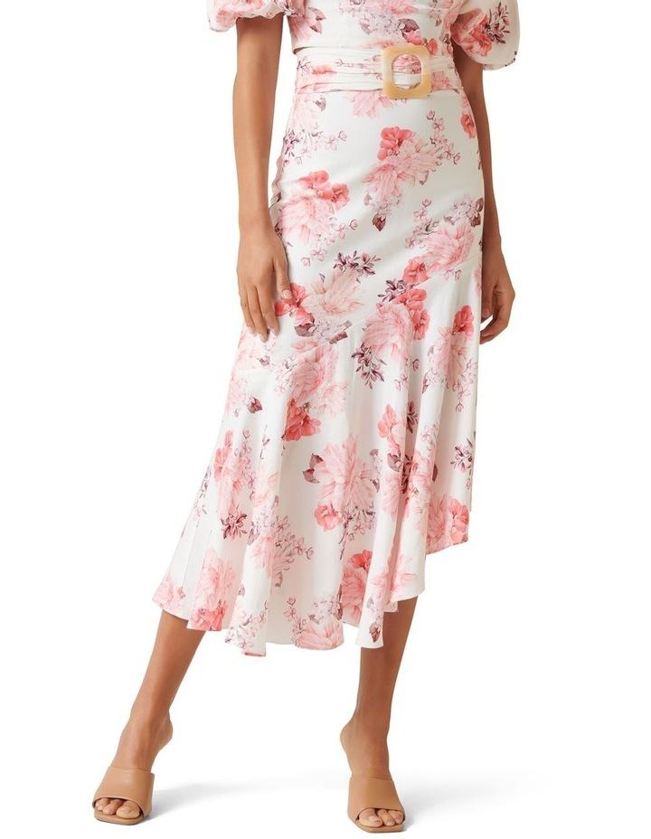 Elena Linen Blend Belted Asymmetric Skirt image 1
