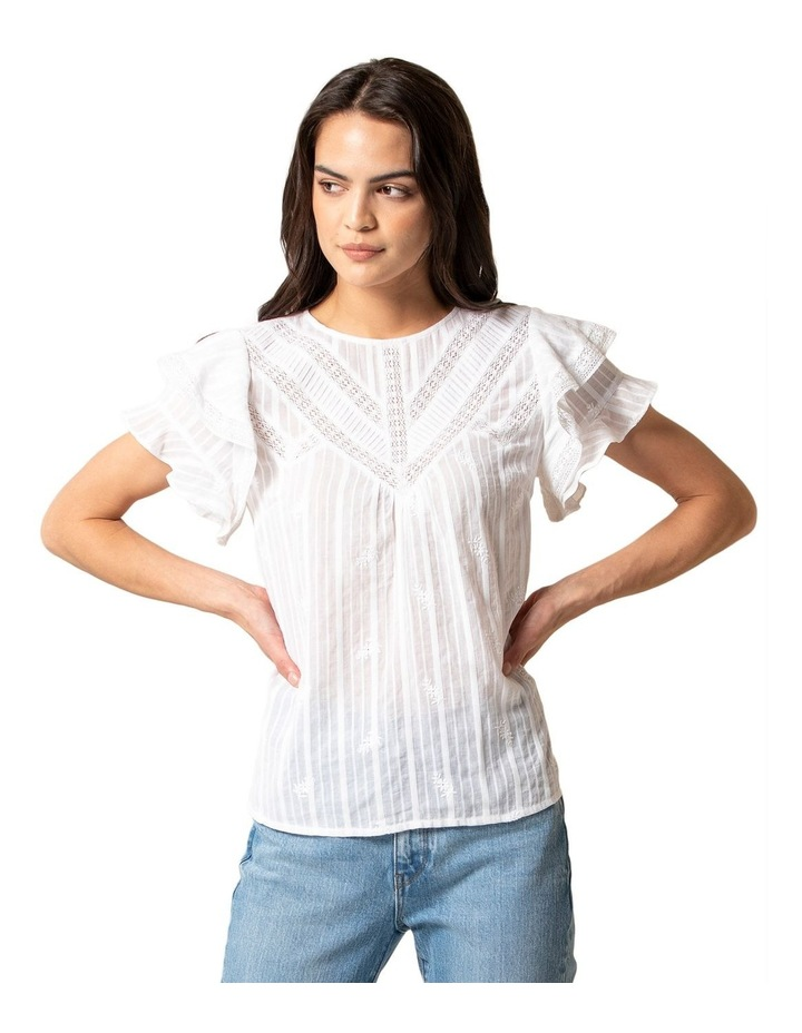 Marley Cotton Embroidered Lace Trim Top image 1