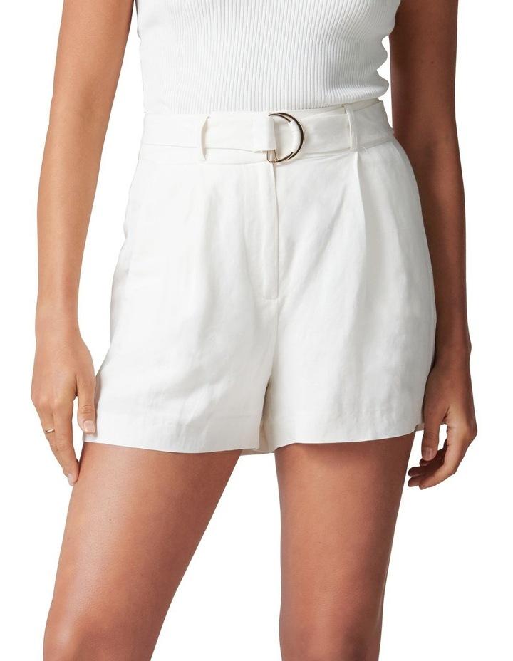 Clara Belted Linen Blend Shorts image 1