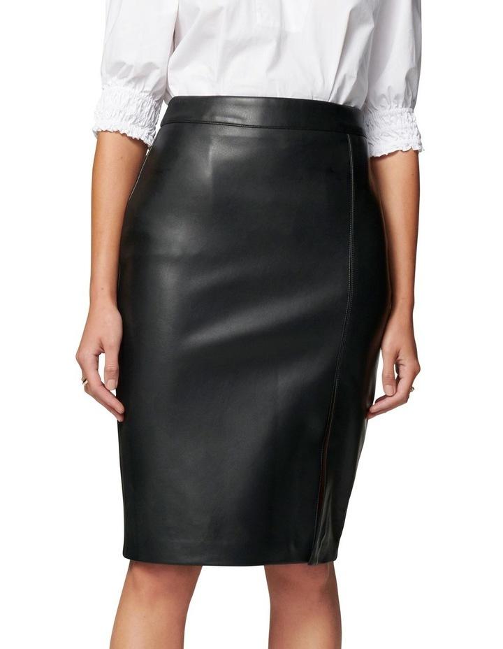 Emilia Vegan Leather Split Midi Skirt image 1
