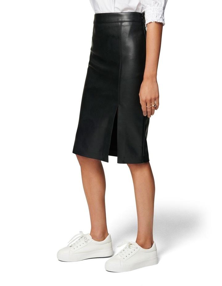 Emilia Vegan Leather Split Midi Skirt image 2