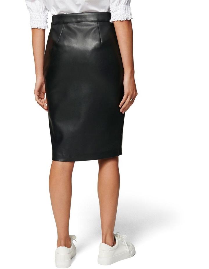 Emilia Vegan Leather Split Midi Skirt image 3