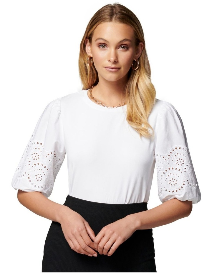 Belle Broderie Woven Sleeve Tee White image 1