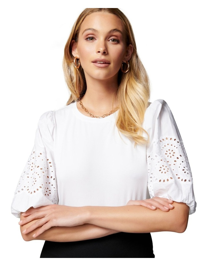 Belle Broderie Woven Sleeve Tee White image 2
