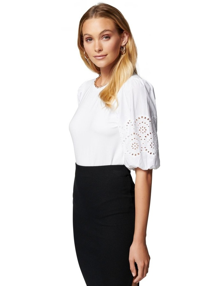 Belle Broderie Woven Sleeve Tee White image 3