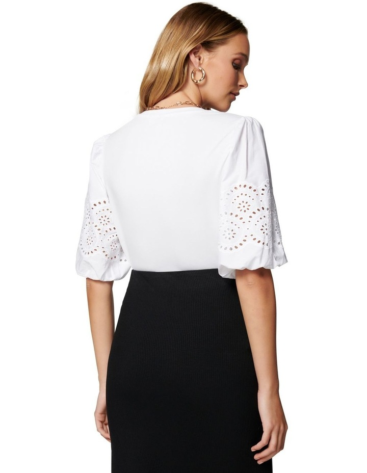 Belle Broderie Woven Sleeve Tee White image 4