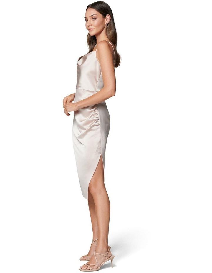 Laura Satin Cowl Ruched Midi Dress image 3