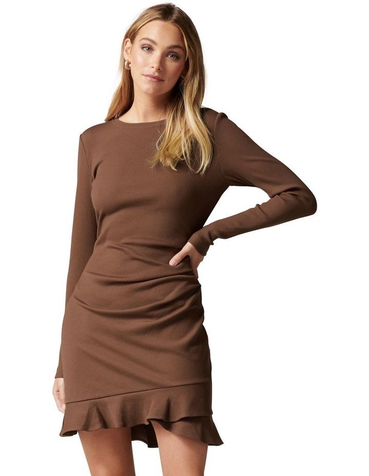 Annie Rib Long Sleeve Frill Dress image 1