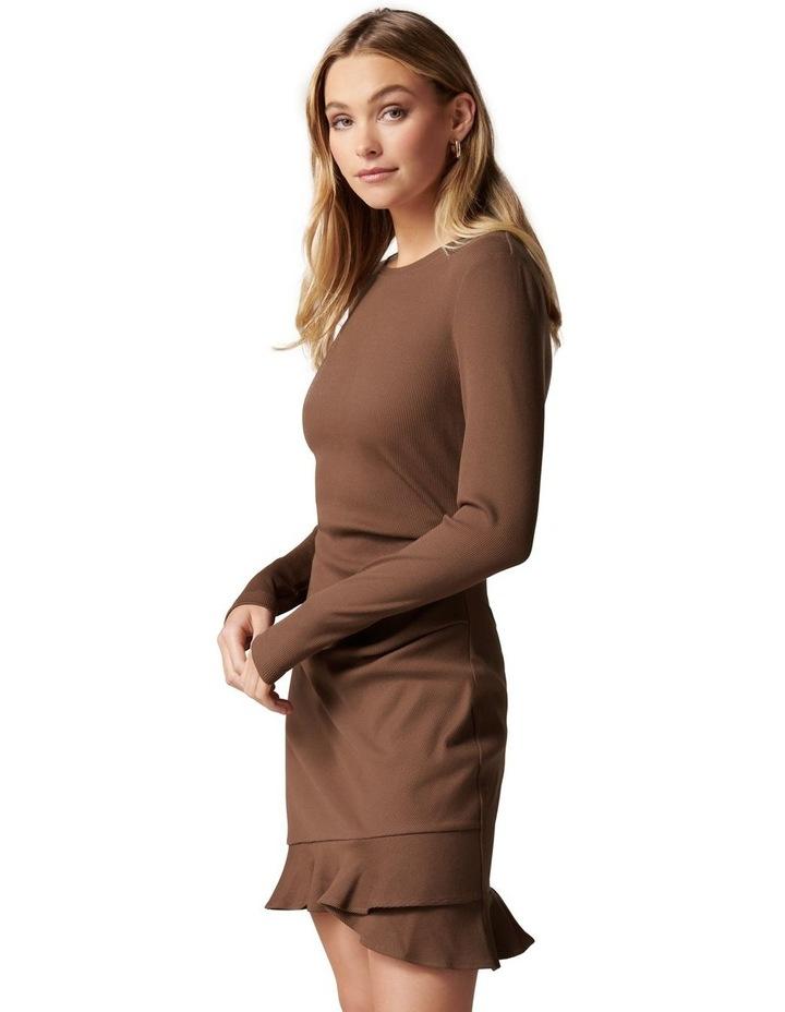 Annie Rib Long Sleeve Frill Dress image 3