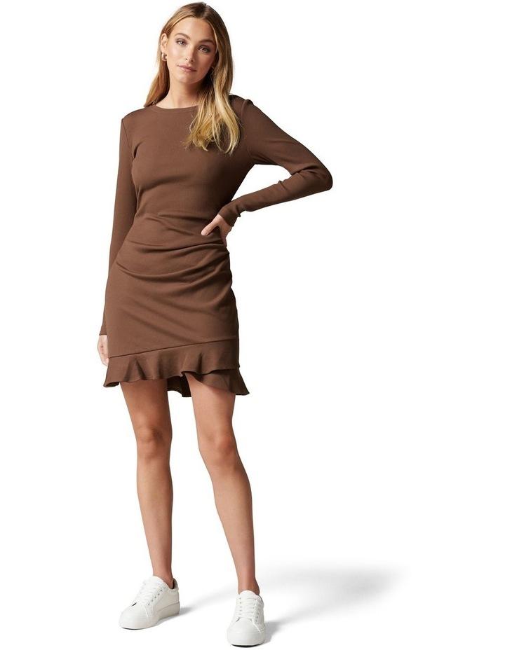 Annie Rib Long Sleeve Frill Dress image 5