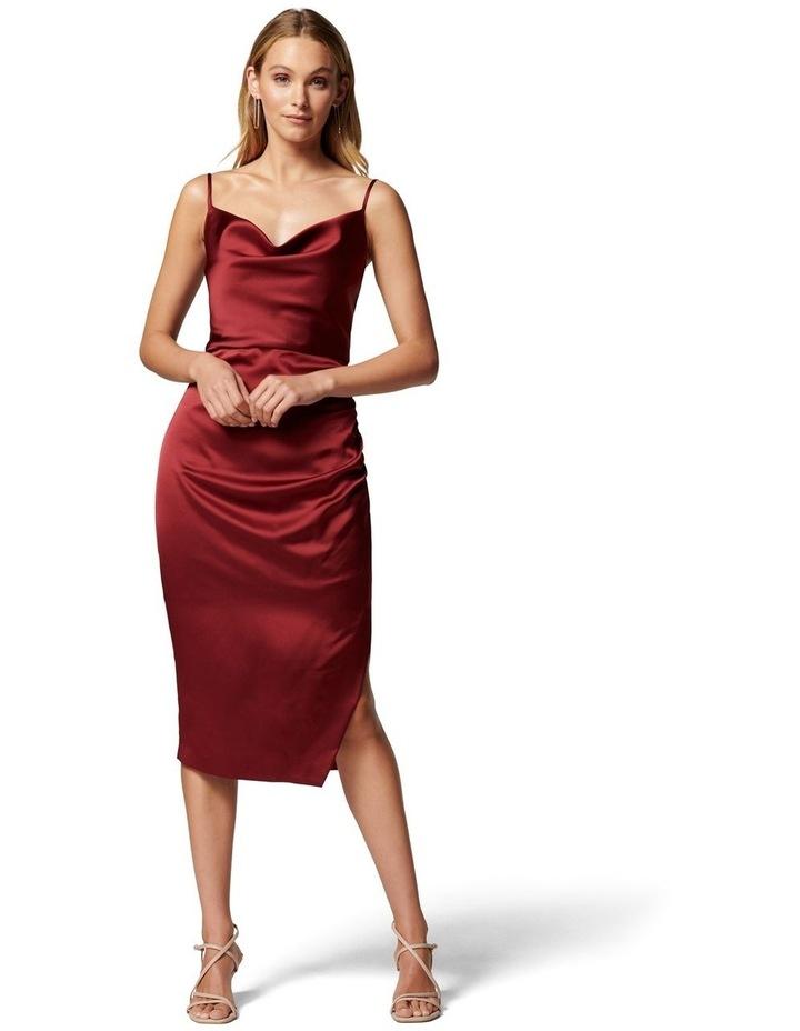 Laura Satin Cowl Ruched Midi Dress image 1