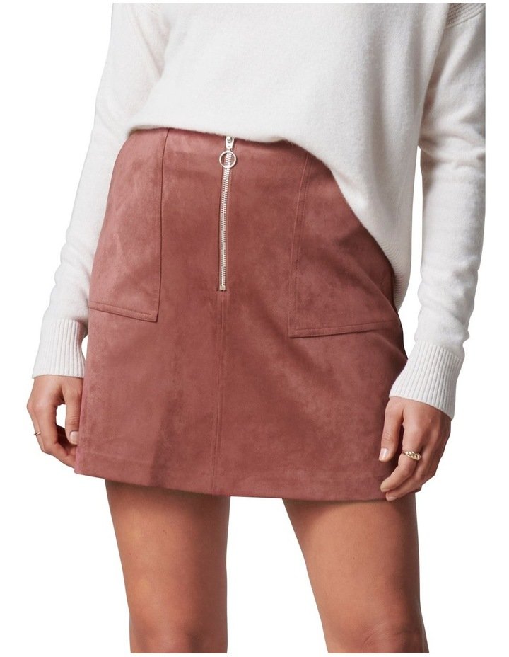 Elisa Zip Front Suedette Mini Skirt image 1