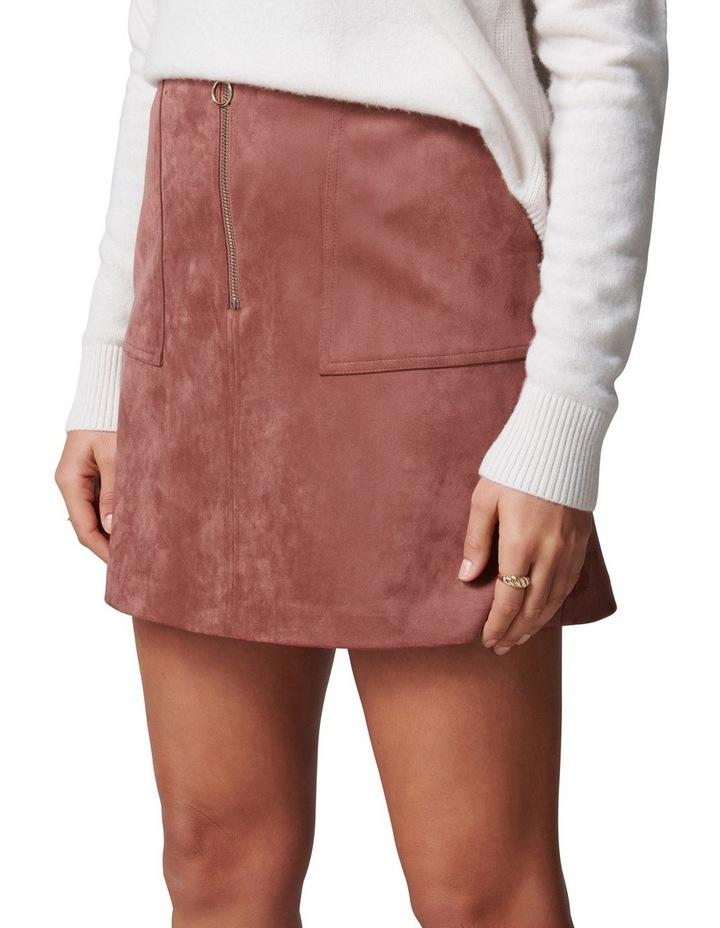 Elisa Zip Front Suedette Mini Skirt image 3