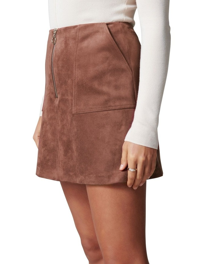 Elisa Zip Front Suedette Mini Skirt image 2