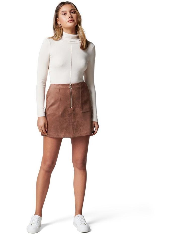 Elisa Zip Front Suedette Mini Skirt image 4