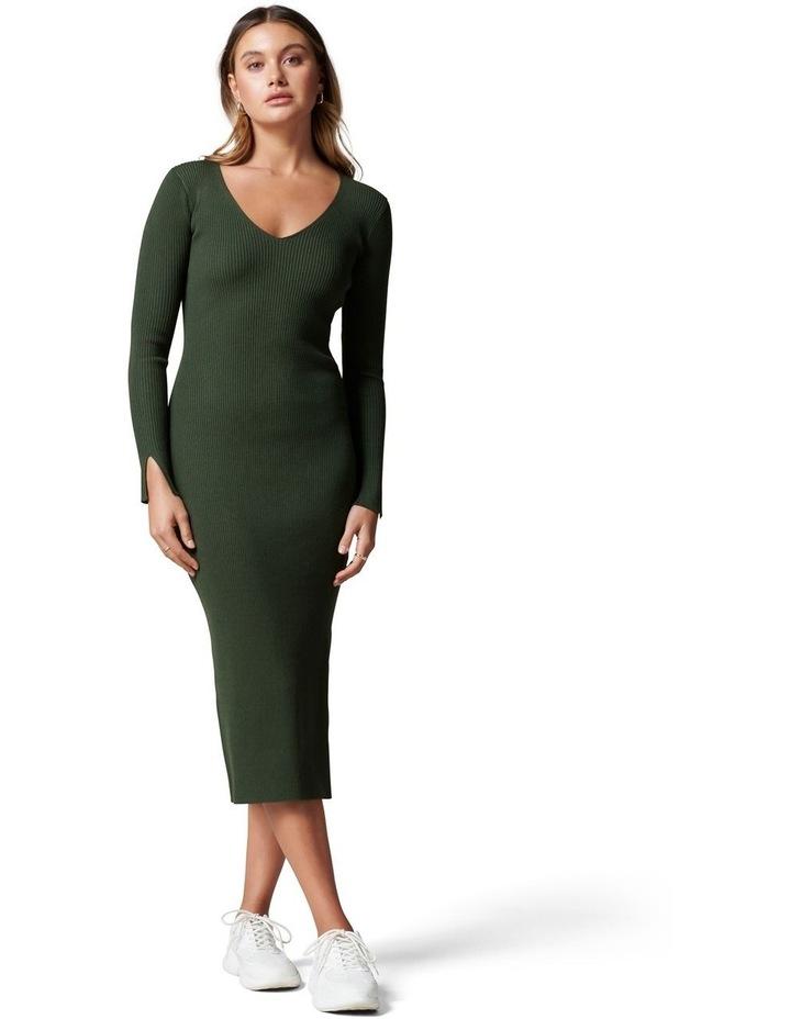 Kourtney V Neck Rib Knit Dress image 1
