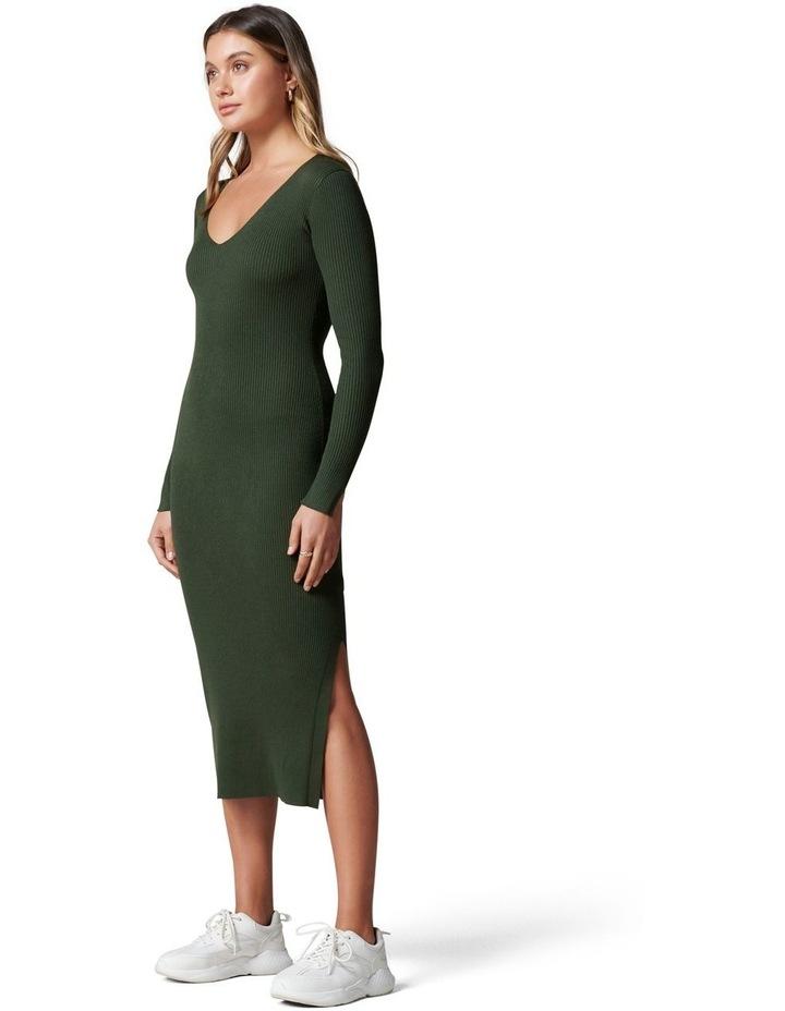 Kourtney V Neck Rib Knit Dress image 3