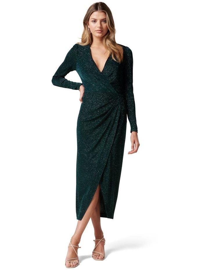 Evaliah Glitter Wrap Midi Dress image 1