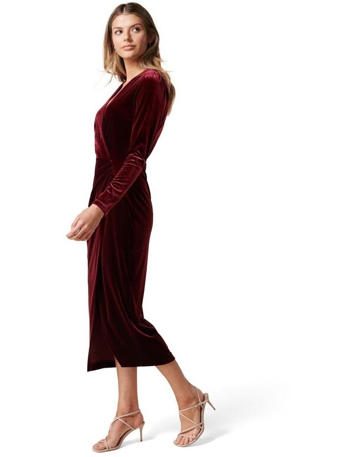 Evaliah Velvet Wrap Midi Dress image 3
