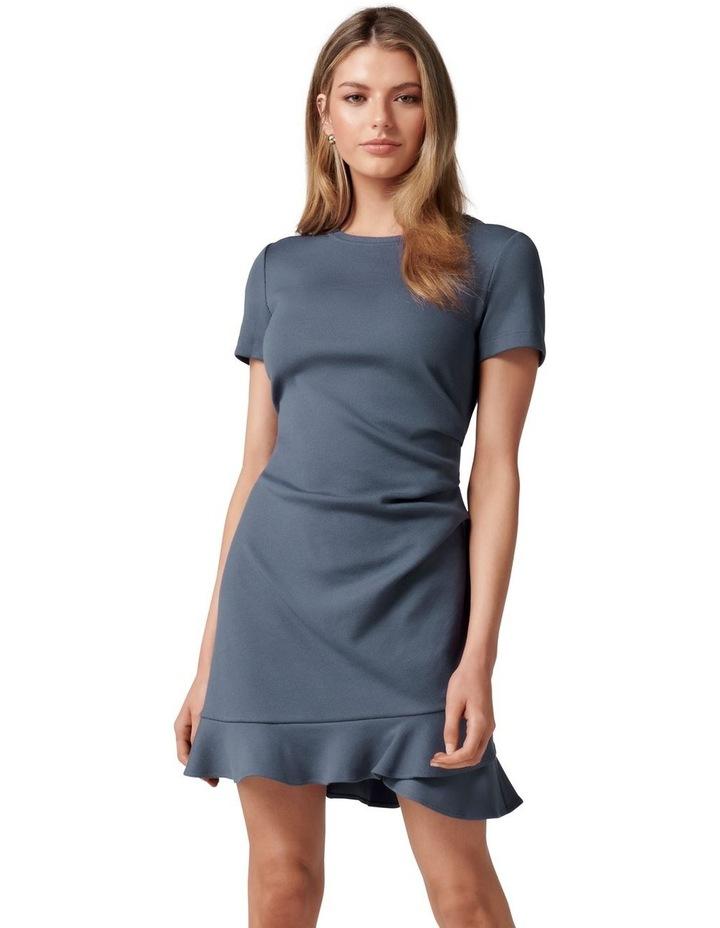 Annie Rib Short Sleeve Frill Dress Steel Blue image 1