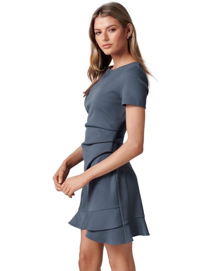 Annie Rib Short Sleeve Frill Dress Steel Blue image 3