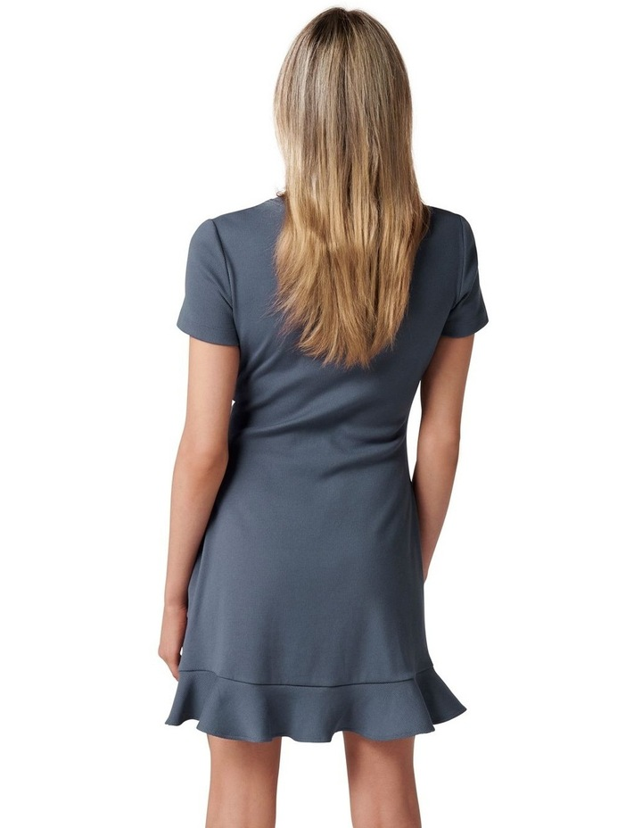 Annie Rib Short Sleeve Frill Dress Steel Blue image 4