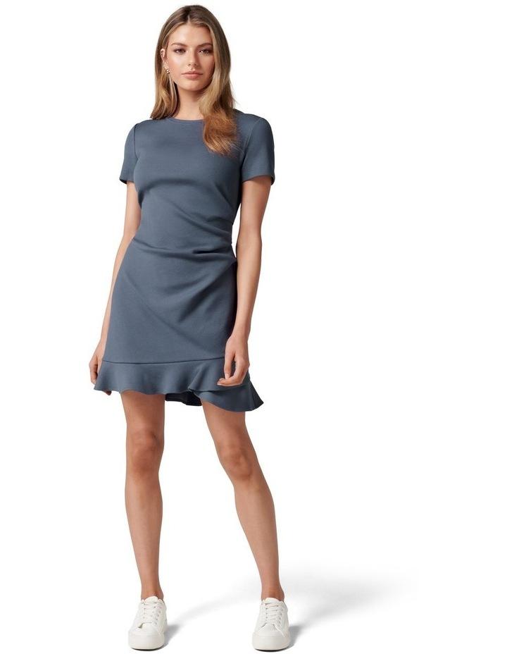 Annie Rib Short Sleeve Frill Dress Steel Blue image 5