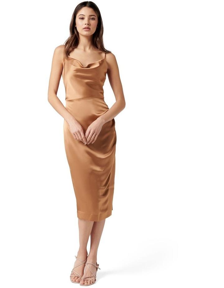 Laura Satin Cowl Ruched Midi Dress Copper image 1