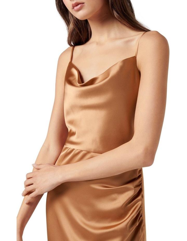 Laura Satin Cowl Ruched Midi Dress Copper image 2