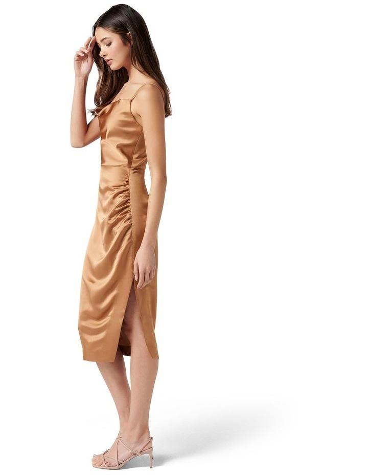 Laura Satin Cowl Ruched Midi Dress Copper image 3