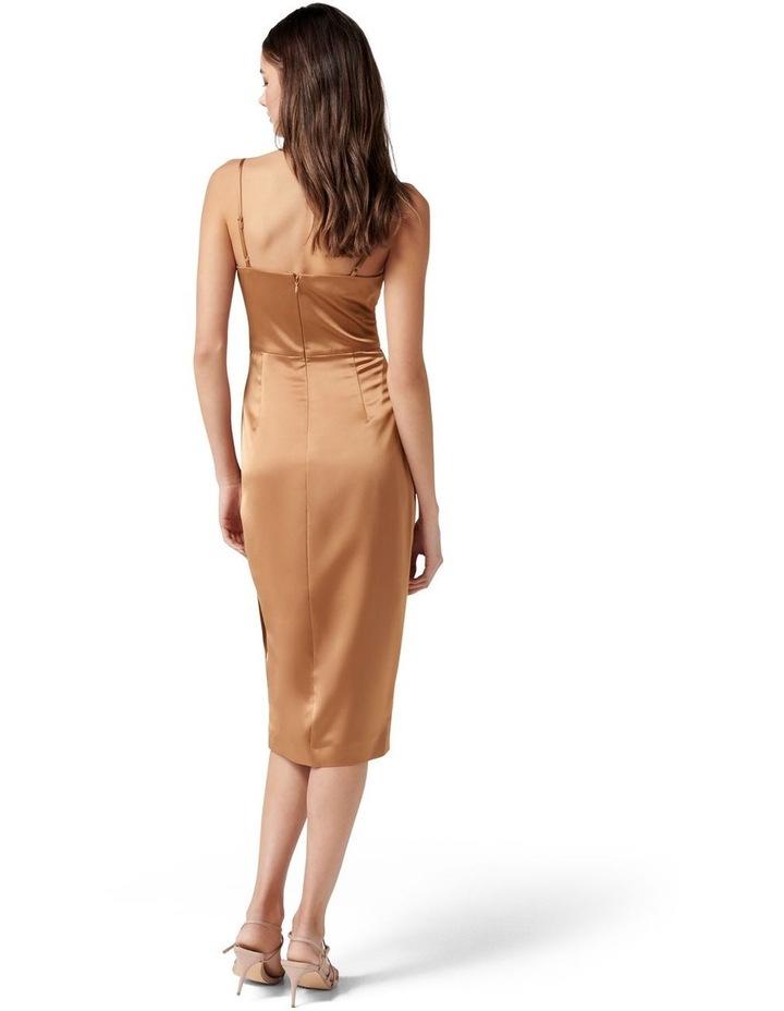 Laura Satin Cowl Ruched Midi Dress Copper image 4