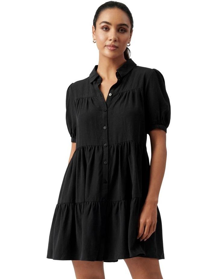 Monica Short Sleeve Tiered Smock Dress Black image 1